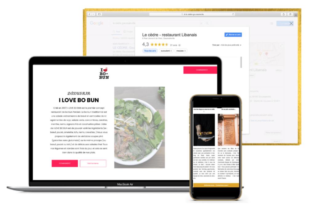 ordinateur illustrant un exemple de site internet, une page d'avis Google My Business et un téléphone avec une newsletter