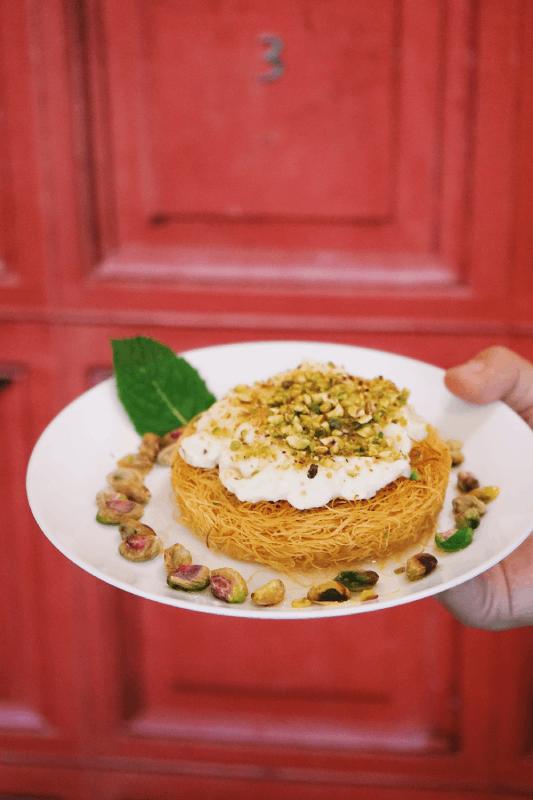 Dessert libanais cheveux d'anges crème de lait et pistaches