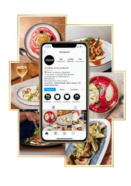 exemple de compte instagram avec Shouk et photos des plats en fond